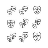 Tragedy and comedy mask outline icon pictogram collection Stock Photography