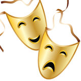 Tragedy and Comedy. Masks representing tragedy and comedy are featured in an illustration with space for text Stock Images