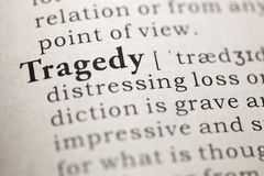 Tragedy. Fake Dictionary, Dictionary definition of the word Tragedy.  including key descriptive words Royalty Free Stock Images
