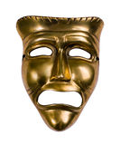 Tragedy mask. Classical theatrical gold tragedy mask over white Stock Photos