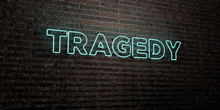 TRAGEDY -Realistic Neon Sign on Brick Wall background - 3D rendered royalty free stock image. Can be used for online banner ads and direct mailers Royalty Free Stock Photos