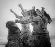 Tragedy at sea, the widows. Matosinhos, Portugal - August 1, 2015: Sculptural ensemble widows of the sea by Jose Joao Brito, inspired by a painting of Augusto Royalty Free Stock Photo