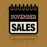 Tragen Sie Aufkleber mit den Wörter November-Verkäufen ein, die nach innen geschrieben werden stock abbildung