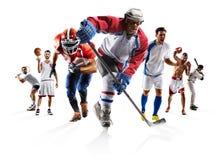 Tragen Sie Basketballbaseball-Eishockey usw. des amerikanischen Fußballs des Collagenverpackenfußballs zur Schau lizenzfreies stockfoto