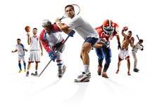 Tragen Sie Basketballbaseball-Eishockey usw. des amerikanischen Fußballs des Collagenverpackenfußballs zur Schau Stockfoto