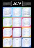 Tragen Sie 2019, calendarium auf Speicherblöcken, mehrfarbiger Hintergrund, Weinlesemuster im weißen Entwurf, Papier mit gerollte Stockbild
