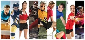 Tragen Sie Collage über Fußball, amerikanischen Fußball, Badminton, Tennis, Verpacken, Eis und Hockey, Tischtennis zur Schau stockbilder