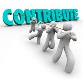 Tragen Sie das Wort 3d bei, das von Team Giving Sharing Contribution hochgezogen wird Lizenzfreies Stockbild
