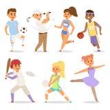 Tragen Sie der Tätigkeitsfrau des Sport- Mannes der Wellnessvektorleutecharaktere sportliche athletische Illustration zur Schau Lizenzfreies Stockfoto
