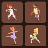 Tragen Sie der Tätigkeitsfrau des Sport- Mannes der Wellnessvektorleutecharaktere sportliche athletische Illustration zur Schau Stockfotos