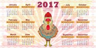 Tragen Sie für das Jahr 2017 ein Das Symbol des roten Hahns Lizenzfreie Stockbilder