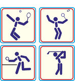 Tragen Sie Golf, Badmintontennis, Klingeln pong Ikone zur Schau Lizenzfreie Stockfotografie