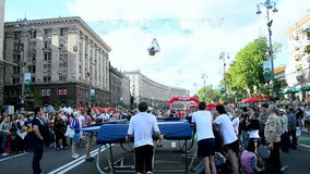 Tragen Sie Gymnastik, Kyivs-Stadt Tag in Kiew, Ukraine zur Schau, stock video