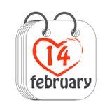 Am 14 Tragen Sie Ikone ein Valentinsgruß `s Tag Flache Art gemalt Lizenzfreies Stockbild