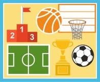 Tragen Sie, Leibeserziehung, Fußball, Basketball, Cup, Preis, Illustration zur Schau Stockbilder