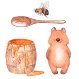 Tragen Sie mit Fass des Honigs, der Biene und des Löffels Stockfoto