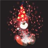 Tragen Sie mit Weihnachtshintergrund und Grußkartenvektor stock abbildung