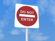 Tragen Sie nicht Zeichen ein Lizenzfreies Stockbild