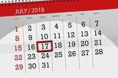 Tragen Sie Planer für den Monat, Schlusstag der Woche, Dienstag, 2018 am 17. Juli ein Lizenzfreies Stockbild