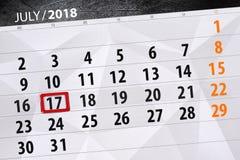 Tragen Sie Planer für den Monat, Schlusstag der Woche, Dienstag 2018 am 17. Juli ein Stockbild