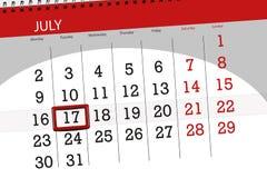 Tragen Sie Planer für den Monat, Schlusstag der Woche, Dienstag, 2018 am 17. Juli ein Lizenzfreie Stockfotos