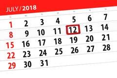 Tragen Sie Planer für den Monat, Schlusstag der Woche, Donnerstag, 2018 am 12. Juli ein Stockbilder
