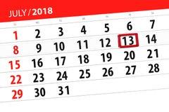 Tragen Sie Planer für den Monat, Schlusstag der Woche, Freitag, 2018 am 13. Juli ein Stockbilder
