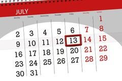 Tragen Sie Planer für den Monat, Schlusstag der Woche, Freitag, 2018 am 13. Juli ein Stockfotos