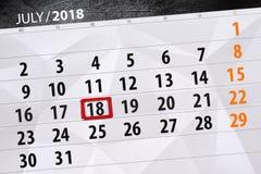 Tragen Sie Planer für den Monat, Schlusstag der Woche, Mittwoch 2018 am 18. Juli ein Lizenzfreie Stockbilder