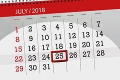 Tragen Sie Planer für den Monat, Schlusstag der Woche, Mittwoch, 2018 am 25. Juli ein Lizenzfreie Stockfotos