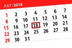 Tragen Sie Planer für den Monat, Schlusstag der Woche, Mittwoch, 2018 am 18. Juli ein Lizenzfreie Stockbilder