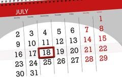 Tragen Sie Planer für den Monat, Schlusstag der Woche, Mittwoch, 2018 am 18. Juli ein Stockfotografie