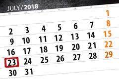 Tragen Sie Planer für den Monat, Schlusstag der Woche, Montag, 2018 am 23. Juli ein Stockfotografie