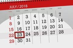 Tragen Sie Planer für den Monat, Schlusstag der Woche, Montag, 2018 am 23. Juli ein Stockbilder