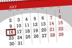 Tragen Sie Planer für den Monat, Schlusstag der Woche, Montag, 2018 am 16. Juli ein Lizenzfreie Stockfotos