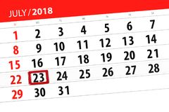 Tragen Sie Planer für den Monat, Schlusstag der Woche, Montag, 2018 am 23. Juli ein Lizenzfreies Stockfoto