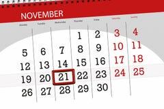 Tragen Sie Planer für den Monat, Schlusstag der Woche November 2018, 21, Mittwoch ein stockbild