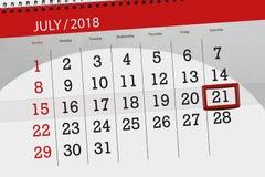 Tragen Sie Planer für den Monat, Schlusstag der Woche, Samstag, 2018 am 21. Juli ein Lizenzfreie Stockbilder