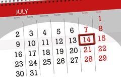 Tragen Sie Planer für den Monat, Schlusstag der Woche, Samstag, 2018 am 14. Juli ein Stockfotografie