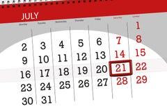 Tragen Sie Planer für den Monat, Schlusstag der Woche, Samstag, 2018 am 21. Juli ein Stockfotos