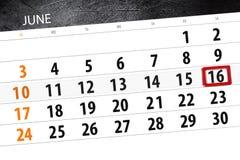 Tragen Sie Planer für den Monat, Schlusstag der Woche, Samstag, 2018 am 16. Juni ein Lizenzfreies Stockbild