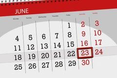 Tragen Sie Planer für den Monat, Schlusstag der Woche, Samstag, 2018 am 23. Juni ein Stockfotografie