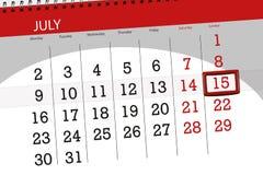 Tragen Sie Planer für den Monat, Schlusstag der Woche, Sonntag, 2018 am 15. Juli ein lizenzfreies stockfoto