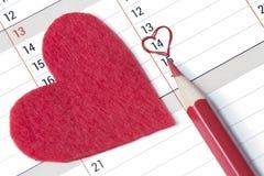 Tragen Sie Seite mit markiertem Datum von Februar 14. ein Lizenzfreie Stockfotografie
