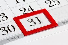 Tragen Sie Seite mit vorgewähltem letztem Datum des Monats ein Stockbilder