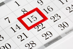Tragen Sie Seite mit vorgewähltem mittlerem Datum des Monats ein Stockbild