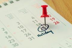 Tragen Sie und markiertes Datum am Feiertagsweinleseton ein Stockbild
