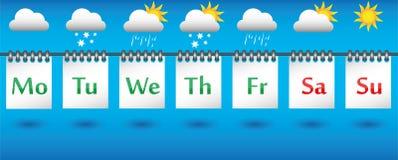 Tragen Sie Wettervorhersage für die Woche, die Ikonen und die Ausweise ein Stockbild