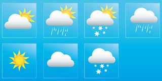 Tragen Sie Wettervorhersage für die Woche, die Ikonen und die Ausweise ein Lizenzfreies Stockfoto