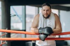 Tragende boxende Verbände des verschwitzten sportiven Boxers auf den Händen, die auf Kamera vom Ring beim Haben des Bruches nach  lizenzfreies stockfoto